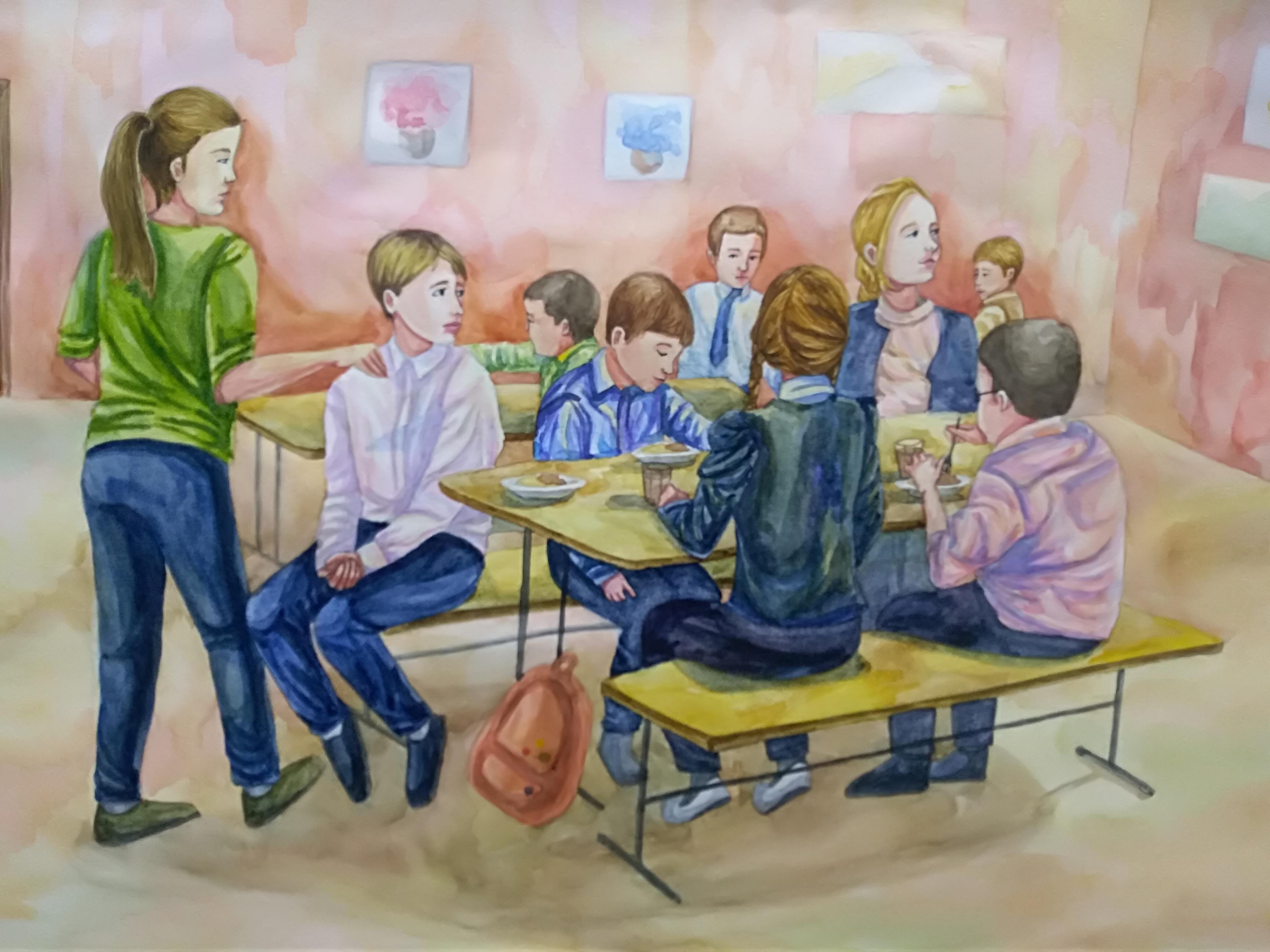 Открытки, рисунок школьные будни